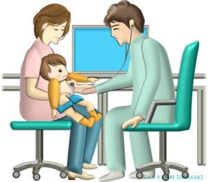 小児科医が幼児を診察しているイラスト