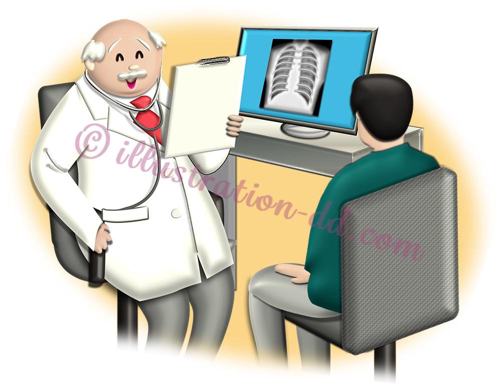 医師が男性患者を診察するイラスト