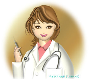 注射器を持った女医のイラスト