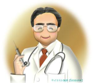 注射器を持つ眼鏡の医師のイラスト
