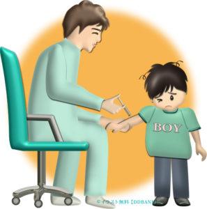 お医者さんに注射される男の子のイラスト
