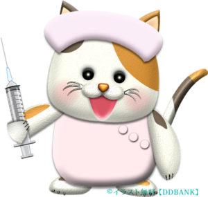 注射器を持った猫ナースのイラスト