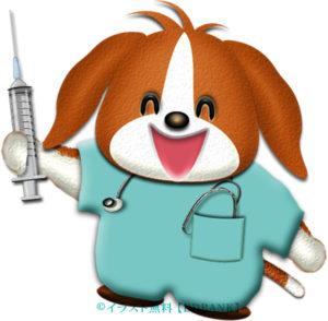 注射器を持った犬ドクターのイラスト