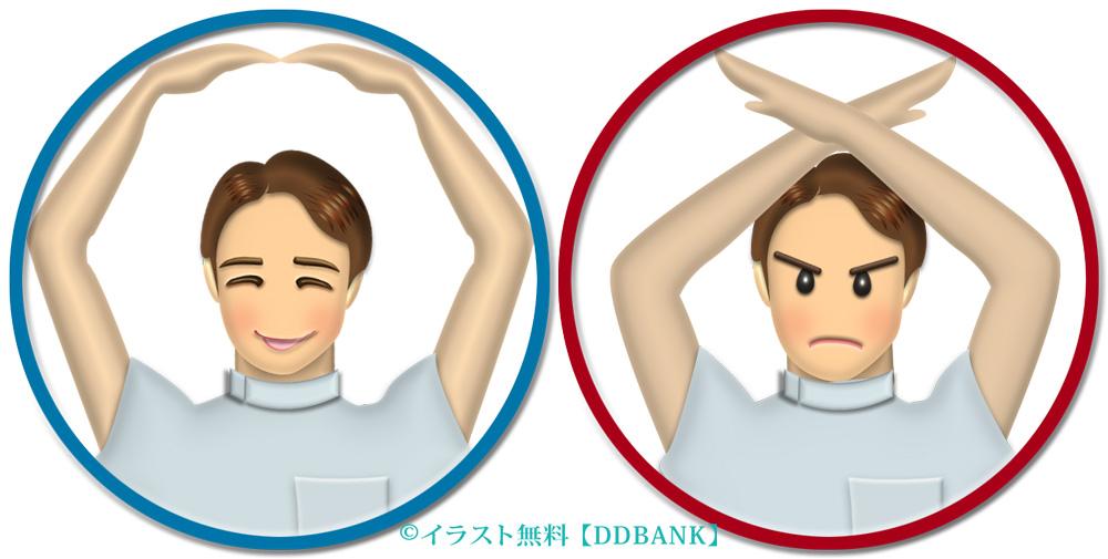手で○と×を作る男性看護師(円型枠入り・半身)のイラスト