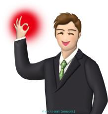 OKサインを作るビジネスマンのイラスト