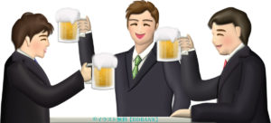 飲み会のビールで乾杯するビジネスマンたちのイラスト