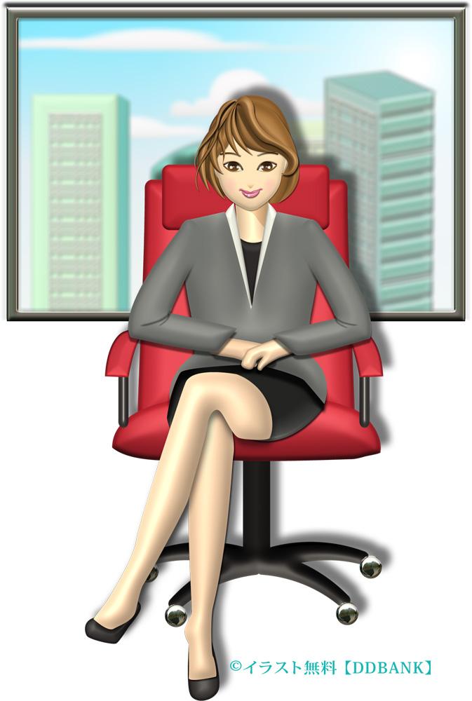 ミニスカでオフィスの椅子に座るキャリアウーマンのイラスト