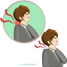 首が凝っている女性のイラスト