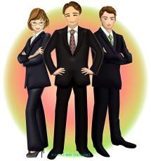 ビジネスでチームを組んでいる企業戦士たちのイラスト