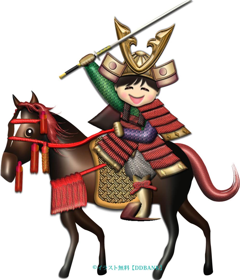 こどもの日に馬に乗る5歳の若武者のイラスト