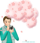桜をカメラで撮影する男性のイラスト