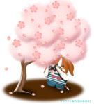 満開の桜をカメラで撮影するワンコのイラスト