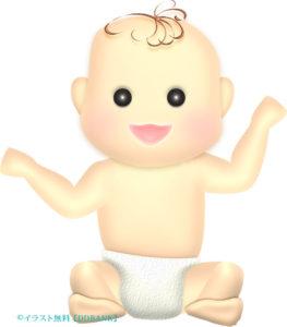 お座りする紙オムツの赤ちゃんのイラスト