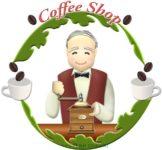 可愛い老マスターを使ったコーヒー店のエンブレムのイラスト