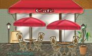 オープンカフェのイラスト