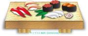寿司下駄の上の握りのイラスト
