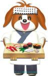 犬のお寿司屋さんのイラスト
