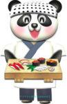 パンダのお寿司屋さんのイラスト