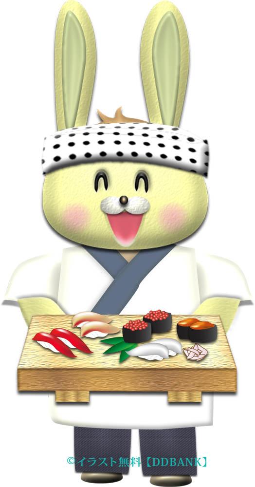 ウサギのお寿司屋さんのイラスト