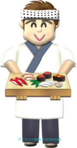 寿司下駄を差出す板前さんのイラスト
