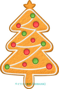 クリスマスツリー型ジンジャークッキーのイラスト