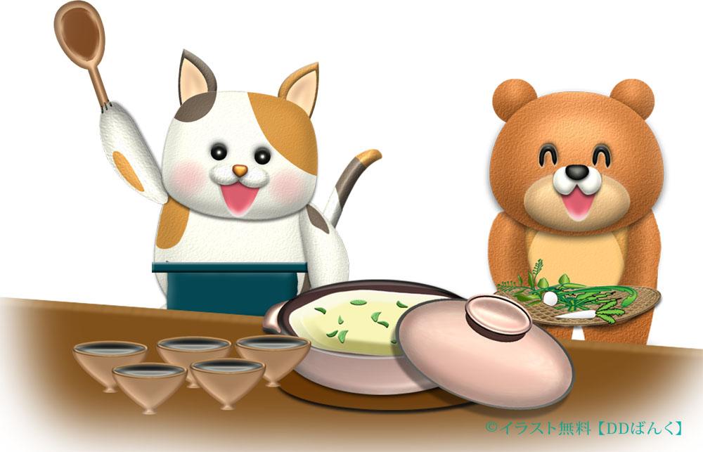 猫とクマが七草粥を作るイラスト