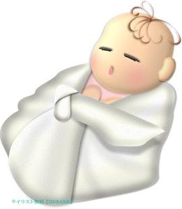 おひなまきでスヤスヤ眠る赤ちゃんのイラスト