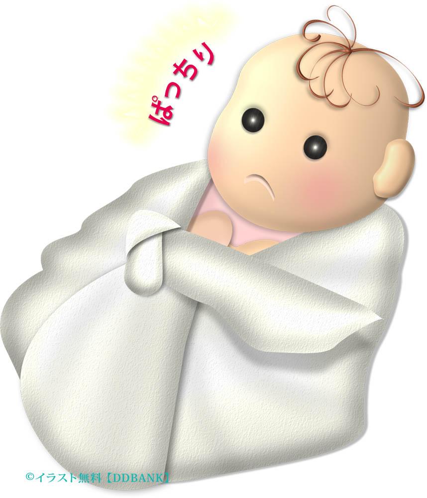 おひなまきでも眠らない赤ちゃんのイラスト