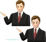 ご案内ポーズをとるスーツの男性のイラスト