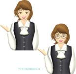 ご案内ポーズをとる一般事務の女性のイラスト