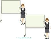 大きなホワイトボードを指示棒で指す女性事務員のイラスト