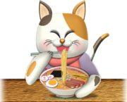 ラーメンを食べる三毛猫のイラスト