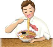 ラーメンを食べているサラリーマン男性のイラスト