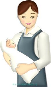 新生児を抱く助産師さんのイラスト