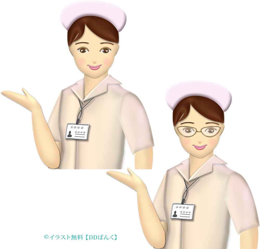 ご案内ポーズするナース(看護師・看護婦さん)のイラスト