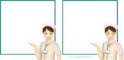 ご案内ポーズのナース(看護師・看護婦さん)と囲み枠のイラストが無料