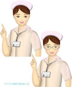 チェックポイントを指す看護士(看護婦さん)のイラスト