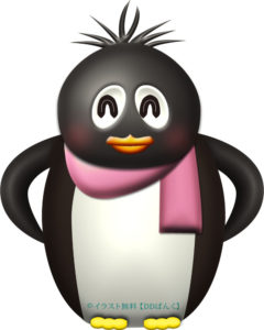 マフラーを巻いたペンギンのイラスト