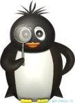 虫眼鏡を覗くペンギンのイラスト