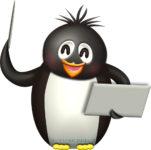 指示棒でプレゼンするペンギンのイラスト