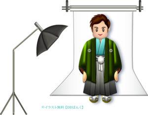 羽織袴で男が成人式の前撮りするイラスト