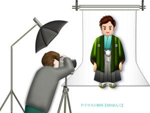 羽織袴で成人式の前撮り(カメラマン付き)のイラスト