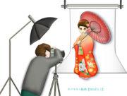 振袖で成人式の前撮り(カメラマン付き)のイラスト