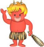 節分に使うフレンドリーな赤鬼の子供のイラスト