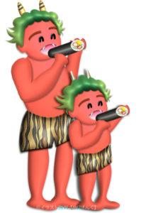 節分に恵方巻を丸かぶりする赤鬼の親子のイラスト