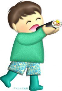 恵方巻を丸かぶりする幼い男の子のイラスト