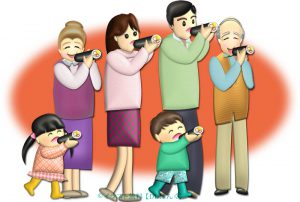 恵方巻を丸かぶりする家族のイラスト