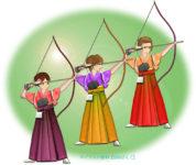 振袖の女性たちが並んで新成人の通し矢をするイラスト