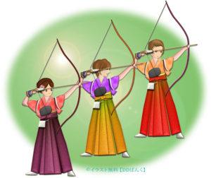 袴姿の女性たちが並んで新成人の通し矢をするイラスト