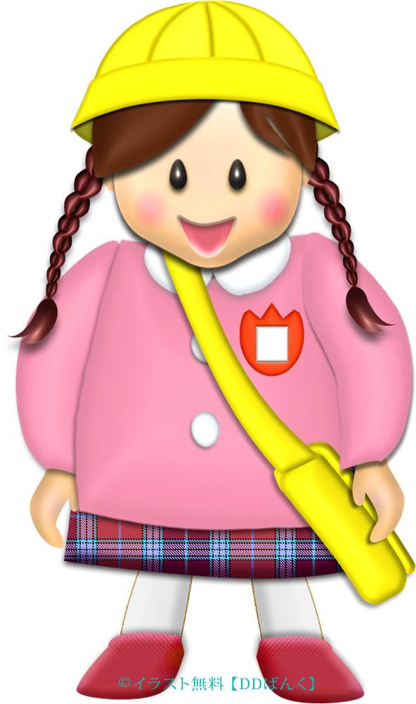 幼稚園児保育園児通園スタイルの女児 イラストが無料のddばんく